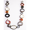 Varied Black Organic TAGUA Bib Necklace, Chained Strand - Mid-Century Modern - Margot - Artisan Elegant