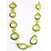 Lime Organic TAGUA Bib Necklace, Chained Strand - Mid-Century Modern - Margot - Artisan Elegant