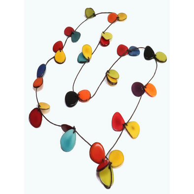 Multi-Color Organic TAGUA Necklace - butterfly slides, Mid-Century Modern - Claudia - Artisan Elegant