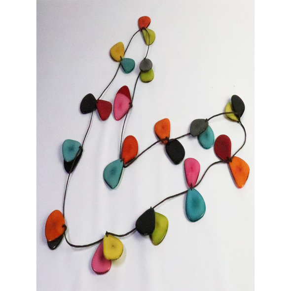 Multi-Color Organic TAGUA Necklace - butterfly slides, Mid-Century Modern - Corinne - Artisan Elegant