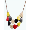 Multi Color Organic TAGUA Bib Necklace, Copper Chained Strand - Mid-Century Modern - Daphne - Artisan Elegant