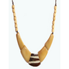 Amber, Brown Organic TAGUA Bib Necklace, Single Strand- Mid-Century Modern - Le Collier - Artisan Elegant
