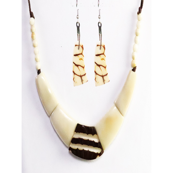 Bone, brown Organic TAGUA Necklace and Earrings Set - Single Strand, Mid-Century Modern - Le Collier - Artisan Elegant