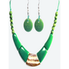 Forest Green Organic TAGUA Necklace and Earrings Set - Single Strand, Mid-Century Modern - Le Collier - Artisan Elegant