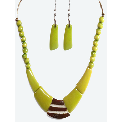 Lime Green Organic TAGUA Necklace and Earrings Set - Single Strand, Mid-Century Modern - Le Collier - Artisan Elegant