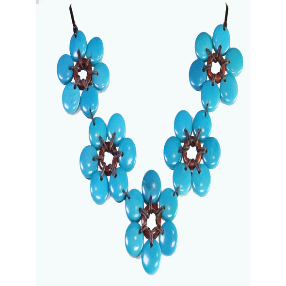 Turquoise Organic TAGUA Necklace, Mid-Century Modern - Daisy Five - Artisan Elegant
