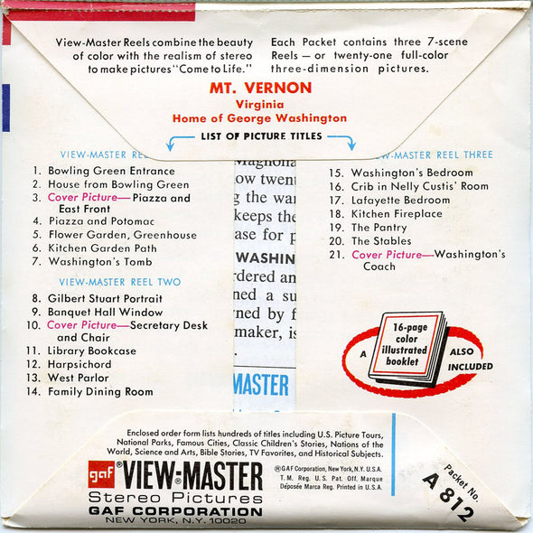 ViewMaster - Mount Vernon - A812 - Vintage - 3 Reel Packet - 1970s Views