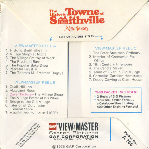 ViewMaste -  The Historic Towne of Smithville, New Jersey - A766 - Vintage  - 3 Reel Packet - 1970s Views