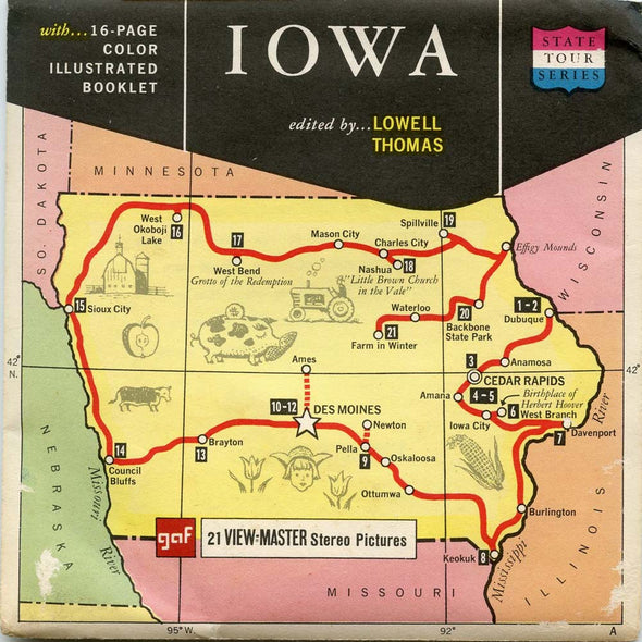 Iowa - Map Series - A540 - Vintage Classic View-Master 3 Reel Packet - 1960's views