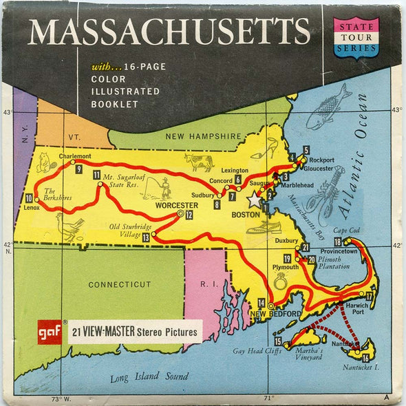 Massachusetts - Map Series - A725 - Vintage Classic View-Master - 3 Reel Packet - 1960s Views