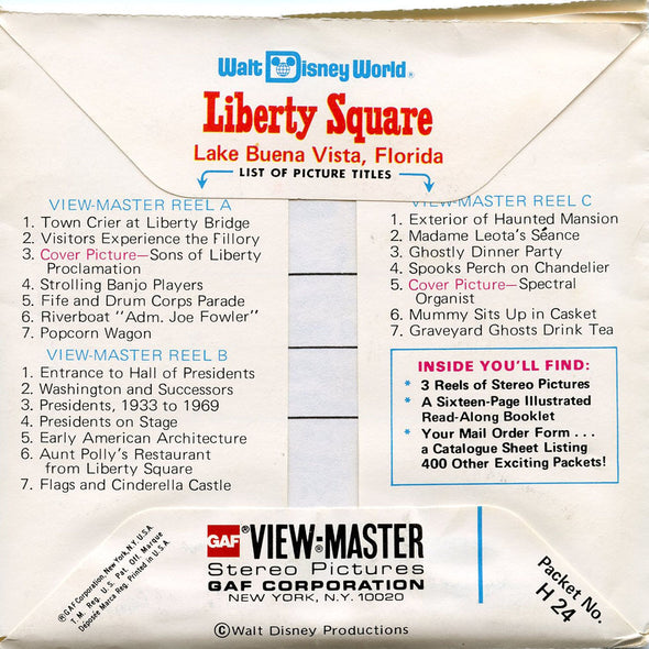 View Master - Liberty Square - Walt Disney World - Vintage -  3 Reel Packet - 1970s Views - H24