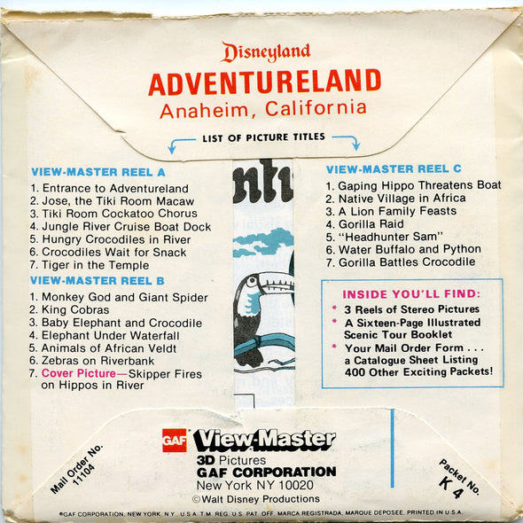 ViewMaster - Adventureland  - Disneyland - Vintage - 3 Reel Packet - 1970s views - K4