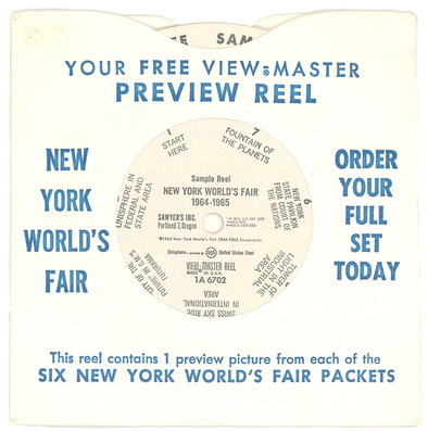 New York World's Fair Preview Reel with Sleeve - Vintage View-Master Reel