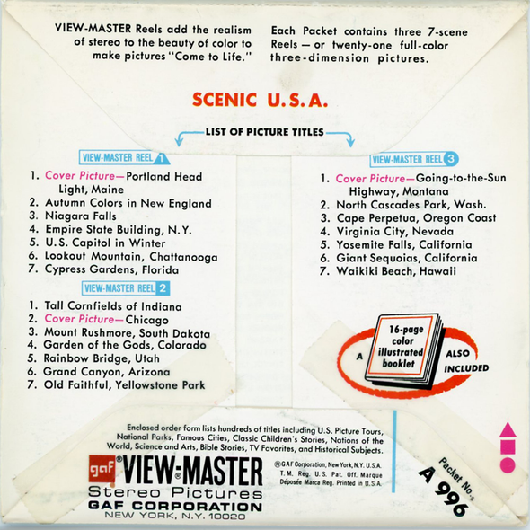 ViewMaster - Scenic U.S.A -A996 - Vintage - 3 Reel Packet - 1970s Views - A996