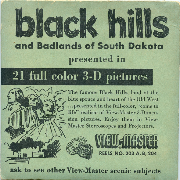ViewMaster Black Hills and Badlands of South Dakota - Vintage Classic  - 3 Reel Packet - 1950s Views