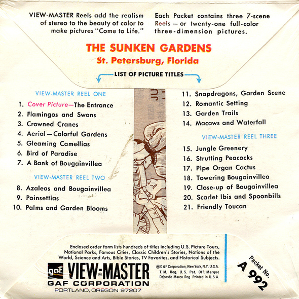 ViewMaster - Sunken Gardens - A992 - Vintage -  3 Reel Packet - 1960s views
