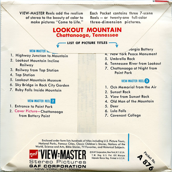 ViewMaster - Lookout Mountain - Tennessee - A876 - Vintage - 3 Reel Packet - 1970s Views