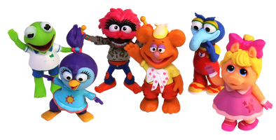 Muppet Babies Mini Figurines - Kermit, Piggy, Fonzie, Gonzo, Animal, Summer - Set of 6