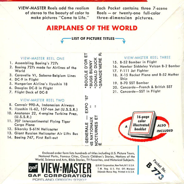 View-Master - Airplanes of the World  - Vintage - 3 Reel Packet - B773 - 1960s Views
