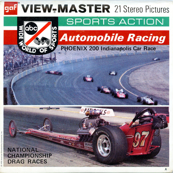 ViewMaster Automobile Racing - Sport Action - B948 - Vintage Classic - 3 Reel Packet - 1970s