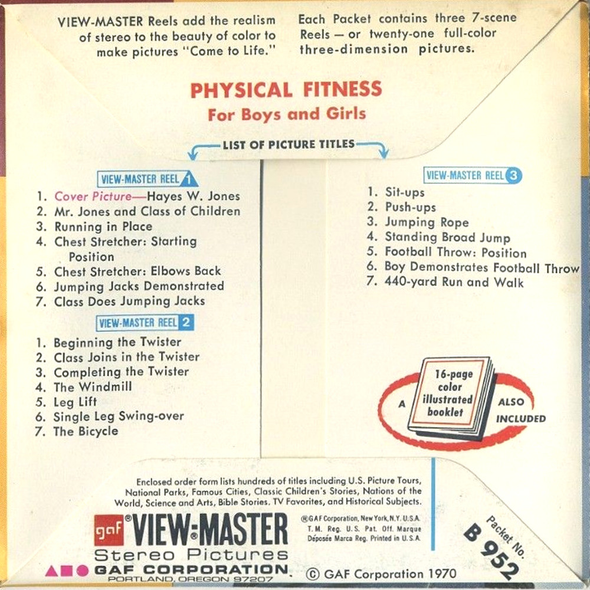 Physical Fitness - B952 - Vintage Classic View-Master - 3 Reel Packet - 1960s Views