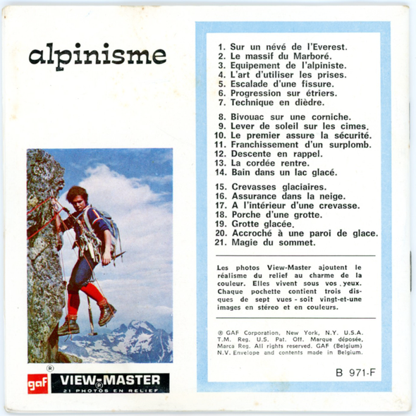 ViewMaster Alpinisme - B971F - Vintage Classic  -3 Reel Packet - 1970s Views
