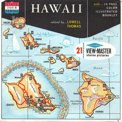 Hawaii State Packet - MAP  - Vintage Classic View-Master® - 3 Reel Packet - 1960s Views