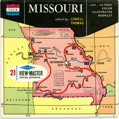 Missouri - Map Series - Vintage Classic View-Master(R) 3 Reel Packet - 1960s views