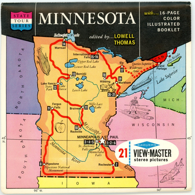 Minnesota - Map Series - Vintage Classic View-Master(R) 3 Reel Packet - 1960s views