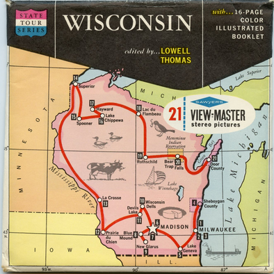 Wisconsin - Map Series - Vintage Classic View-Master(R) 3 Reel Packet - 1960s views