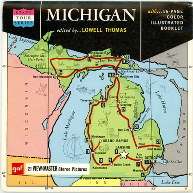 Michigan - Map Series - Vintage Classic View-Master(R) 3 Reel Packet - 1960s views