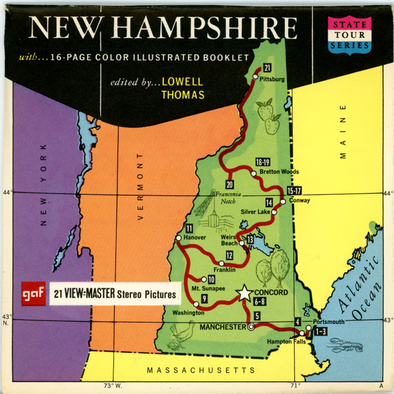 New Hampshire - Map Series - Vintage Classic View-Master(R) 3 Reel Packet - 1960's views