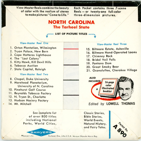 ViewMaster - North Carolina - Map Series - A890 - Vintage - 3 Reel Packet - 1960s views