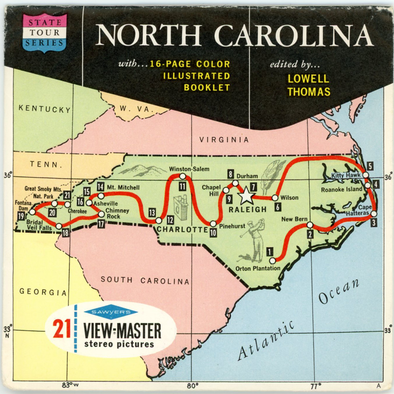 North Carolina - Map Series - Vintage Classic View-Master(R) 3 Reel Packet - 1960s views