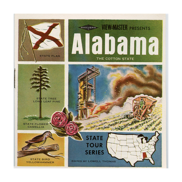 ALABAMA - Map Series -  A925 - Vintage Classic View-Master - 3 Reel Packet - 1960s Views