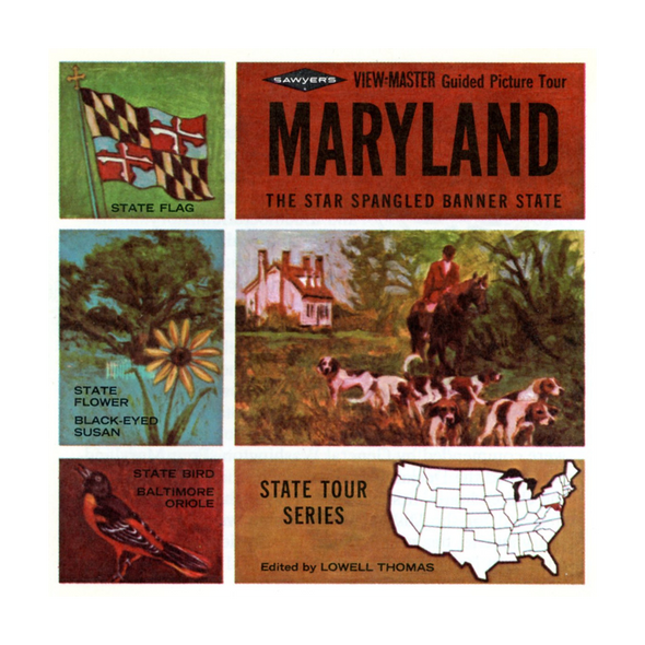 ViewMaster - Maryland - Map Series - A780 - Vintage  - 3 Reel Packet - 1960s Views