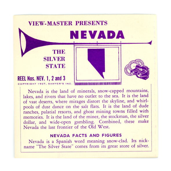Nevada - Vacationland Series - Vintage Classic ViewMaster - 3 Reel Packet - 1950s views