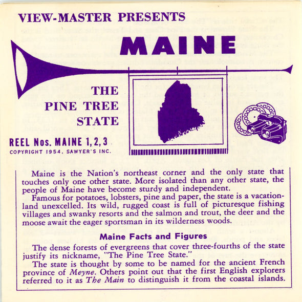 Maine  - 1st Series - Vintage Classic View-Master 3 Reel Packet - 1950's views