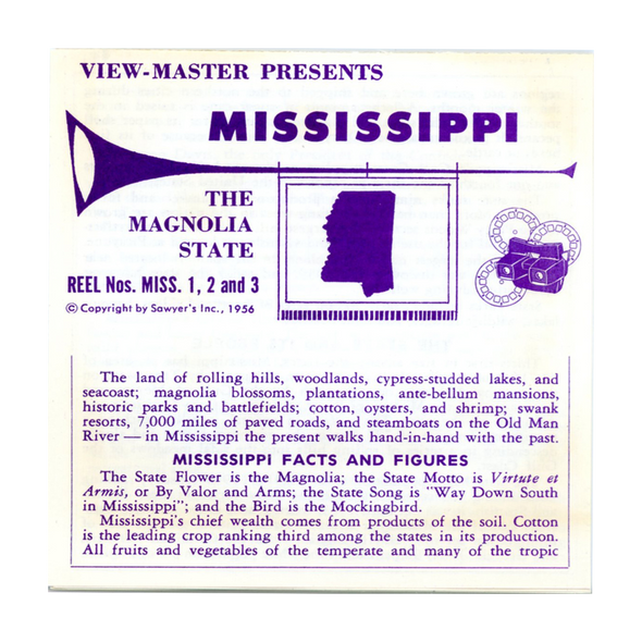 ViewMaster - Mississippi - Vacationland Series - Vintage - 3 Reel Packet - 1950s views