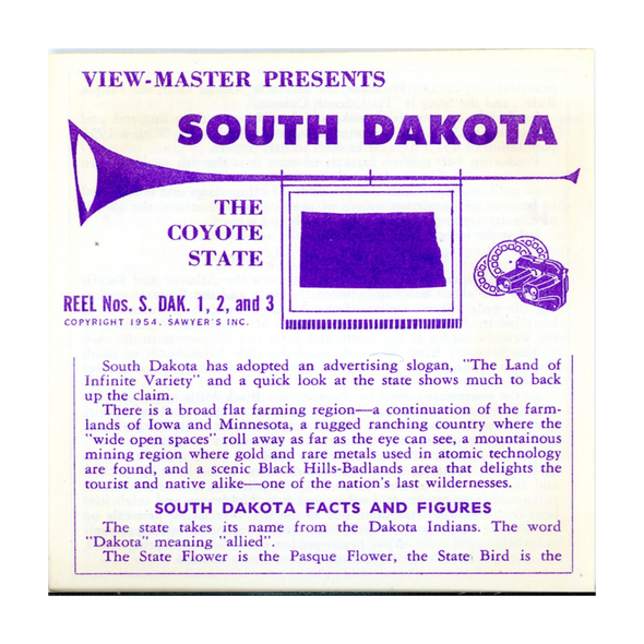 ViewMaster - North Dakota - Vacationland Series - Vintage -3 Reel Packet - 1950s views