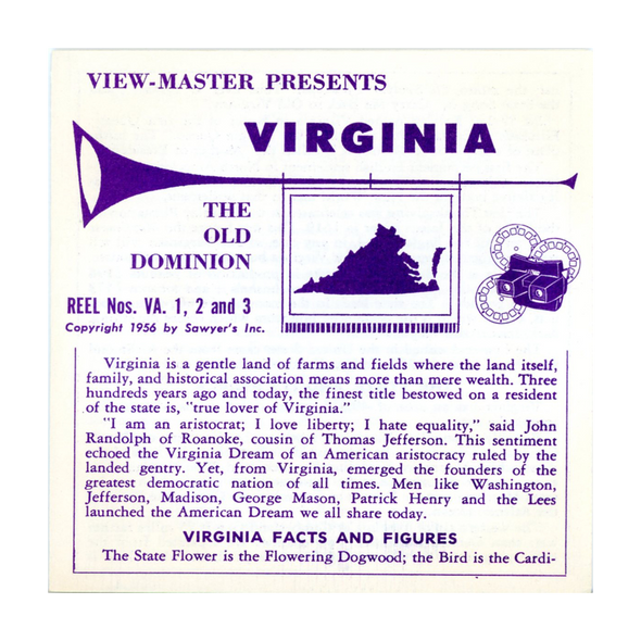 Virginia - State - Vacationland Series - Vintage Classic View-Master -  3 Reel Packet - 1950s views