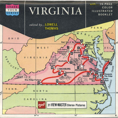 Virginia - Map - State Tour Series - Vintage Classic View-Master® - 3 Reel Packet - 1960s Views
