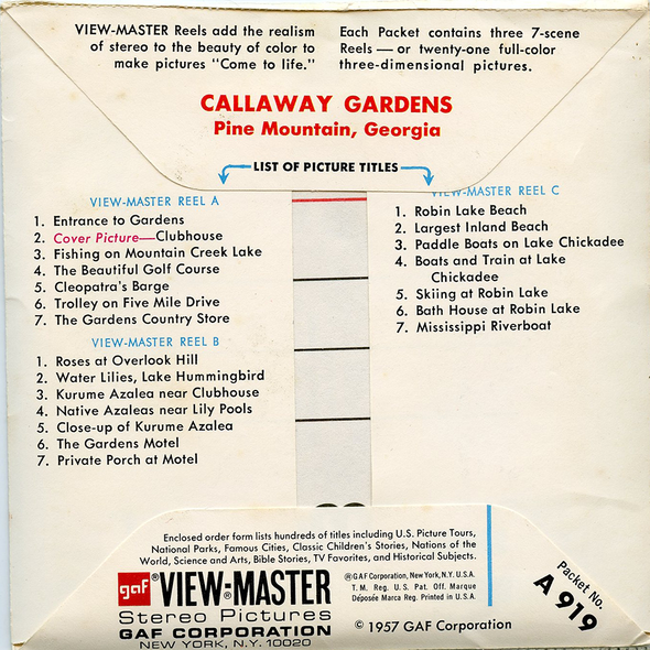 ViewMaster - Callaway Gardens - Pine Mountain - A919 - Vintage - 3 Reel Packet - 1960 views