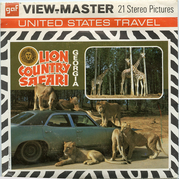 Lion Country Safari - Georgia - A923 - Vitage Classic View-Master - 3 Reel Packet - 1970s Views