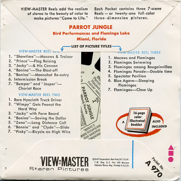 ViewMaster - Parrot Jungle Packet No. 2 - Bird Performance  - A970 -  Vintage - 3 Reel Packet - 1970s views