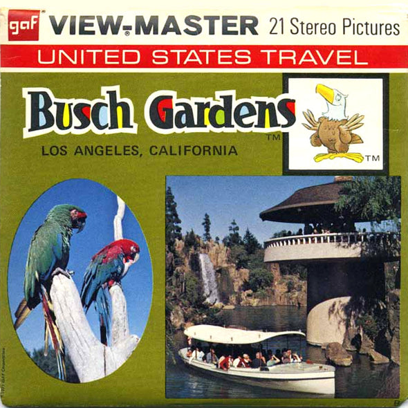Busch Gardens - Los Angeles - Vintage Classic View-Master - 3 Reel Packet - 1970s Views