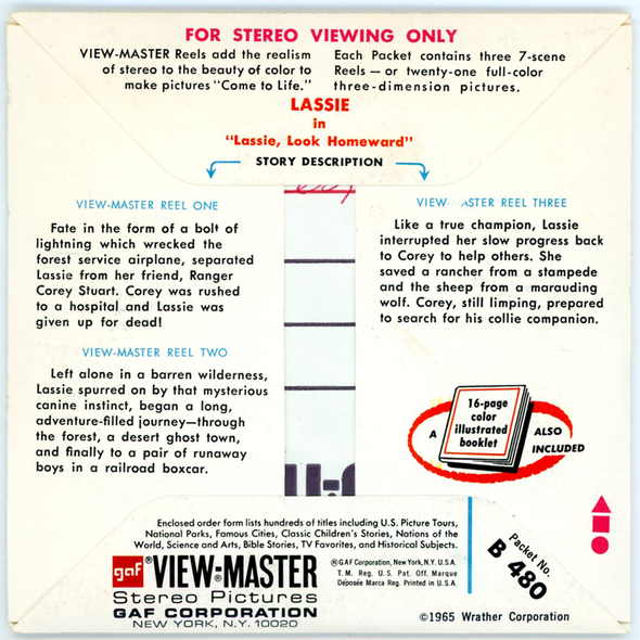 Lassie - Look Homeward - B480 - Vintage Classic View-Master - 3 Reel Packet - 1960s Views