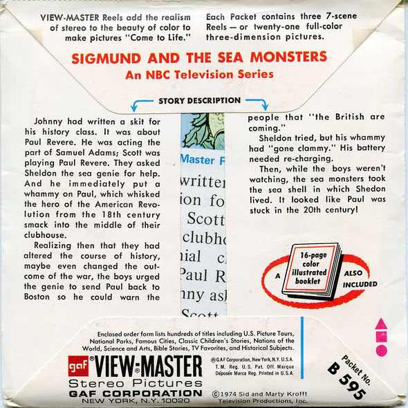 Sigmund And The Sea Monsters - B595 - Vintage Classic View-Master - 3 Reel Packet - 1970s views
