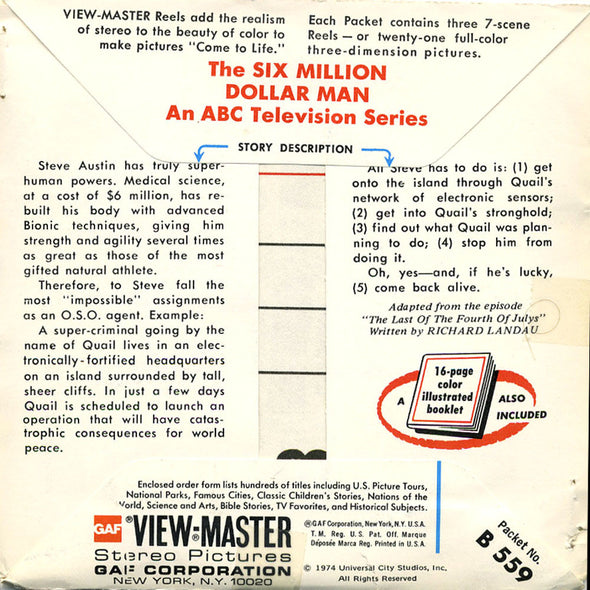 The Six Million Dollar Man - B559 - Vintage Classic View-Master  - 3 Reel Packet - 1970s views