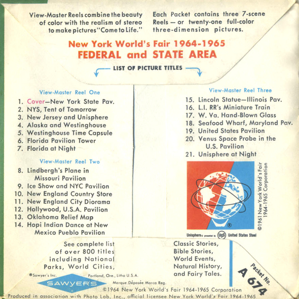 ViewMaster - Federal and State - Area - A674 - Vintage - 3 Reel Packet - 1960s Views